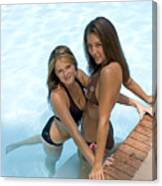 Two Pretty Women In A Pool. Canvas Print