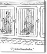 Two Prisoners Sit In Separate Dog Kennel Cells Canvas Print