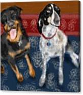 Two Pups On A Persian Carpet Canvas Print