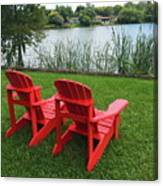 Two Red Chairs Overlooking Lake Formosa Canvas Print