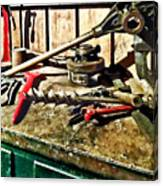Two Red Wrenches On Plumber's Workbench Canvas Print