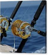Two Rod And Reels On Board A Game Fishing Boat In The Mediterranean Sea Canvas Print