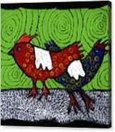 Two Roosters Canvas Print