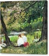 Two Seated Women Canvas Print