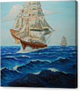 Two Ships Sailing Canvas Print