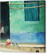 Two Shoes And A Melon Canvas Print