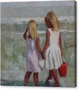 Two Sisters And Red Bucket Canvas Print