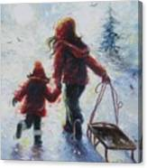 Two Sisters Going Sledding Canvas Print