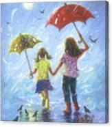 Two Sisters Rain Blond Little Sister Canvas Print