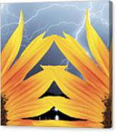 Two Sunflower Lightning Storm Canvas Print