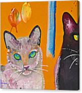 Two Superior Cats With Wild Wallpaper Canvas Print