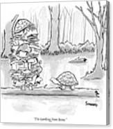 Two Tortoises Speak. One Has A Large Number Canvas Print
