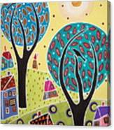 Two Trees Two Birds Landscape Canvas Print