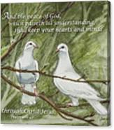 Two White Doves Philippians Canvas Print