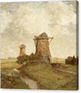 Two Windmills Between Abcoude And Ouderkerk On The Amstel Canvas Print