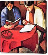 Two Women At The Table By August Macke Canvas Print