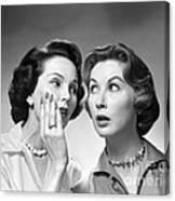 Two Women Gossiping, C.1950-60s Canvas Print