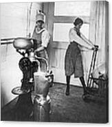 Two Women Making Butter Canvas Print
