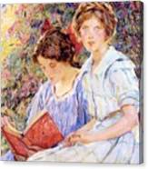 Two Women Reading Canvas Print