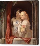 Two Young Ladies At The Window Canvas Print