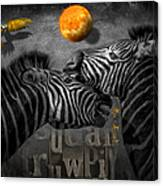 Two Zebras And Macaw Canvas Print
