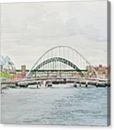 Tyne Bridges And Quayside Canvas Print
