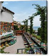 Typical Shop Display Of Ceramics For Sale In Positano, Amalfi Co Canvas Print