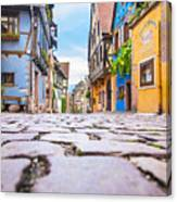 half-timbered houses, Riquewihr, Alsace, France   Canvas Print