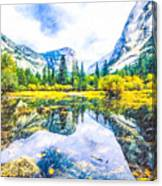 Typical View Of The Yosemite National Park Canvas Print