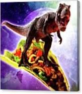 Tyrannosaurus Rex Dinosaur Riding Taco In Space Canvas Print