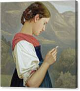 Tyrolean Girl Contemplating A Crucifix Canvas Print