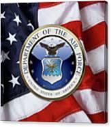 U. S.  Air Force  -  U S A F Emblem Over American Flag Canvas Print