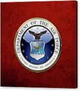 U. S.  Air Force  -  U S A F Emblem Over Red Velvet Canvas Print