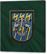 U. S.  Army 12th Special Forces Group - 12 S F G  Beret Flash Over Green Beret Felt Canvas Print