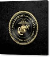 U S M C Emblem Black Edition Over Black Velvet Canvas Print