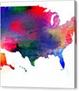 U S Map Color  Canvas Print