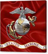 U. S.  Marine Corps - C O And Warrant Officer Eagle Globe And Anchor Over Corps Flag Canvas Print
