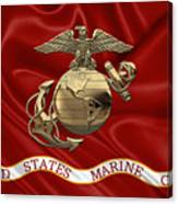 U. S.  Marine Corps - N C O Eagle Globe And Anchor Over Corps Flag Canvas Print