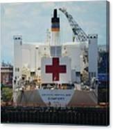 U S N Hospital Ship, Comfort In Boston's Dry Dock Canvas Print