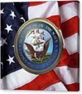 U. S.  Navy  -  U S N Emblem Over American Flag Canvas Print