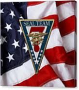U. S. Navy S E A Ls - S E A L Team Seven  -  S T 7  Patch Over U. S. Flag Canvas Print