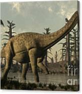Uberabatitan Dinosaur Walking Canvas Print