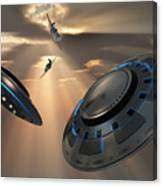 Ufos And Fighter Planes In The Skies Canvas Print