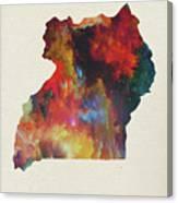 Uganda Watercolor Map Canvas Print
