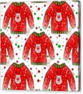 Ugly Christmas Sweater Pattern Canvas Print