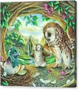 Ugly Duckling - Dragon Baby And Owls Canvas Print