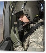 Uh-60 Black Hawk Crew Chief Looking Canvas Print