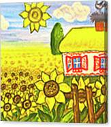 Ukrainian House With Sunflowers Canvas Print