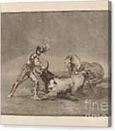 Un Caballero Espanol Mata Un Toro Despues De Haber Perdido El Caballo (a Spanish Knight Kills The Bull After Having Lost His Horse) Canvas Print