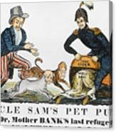 Uncle Sam: Cartoon, 1840 Canvas Print
